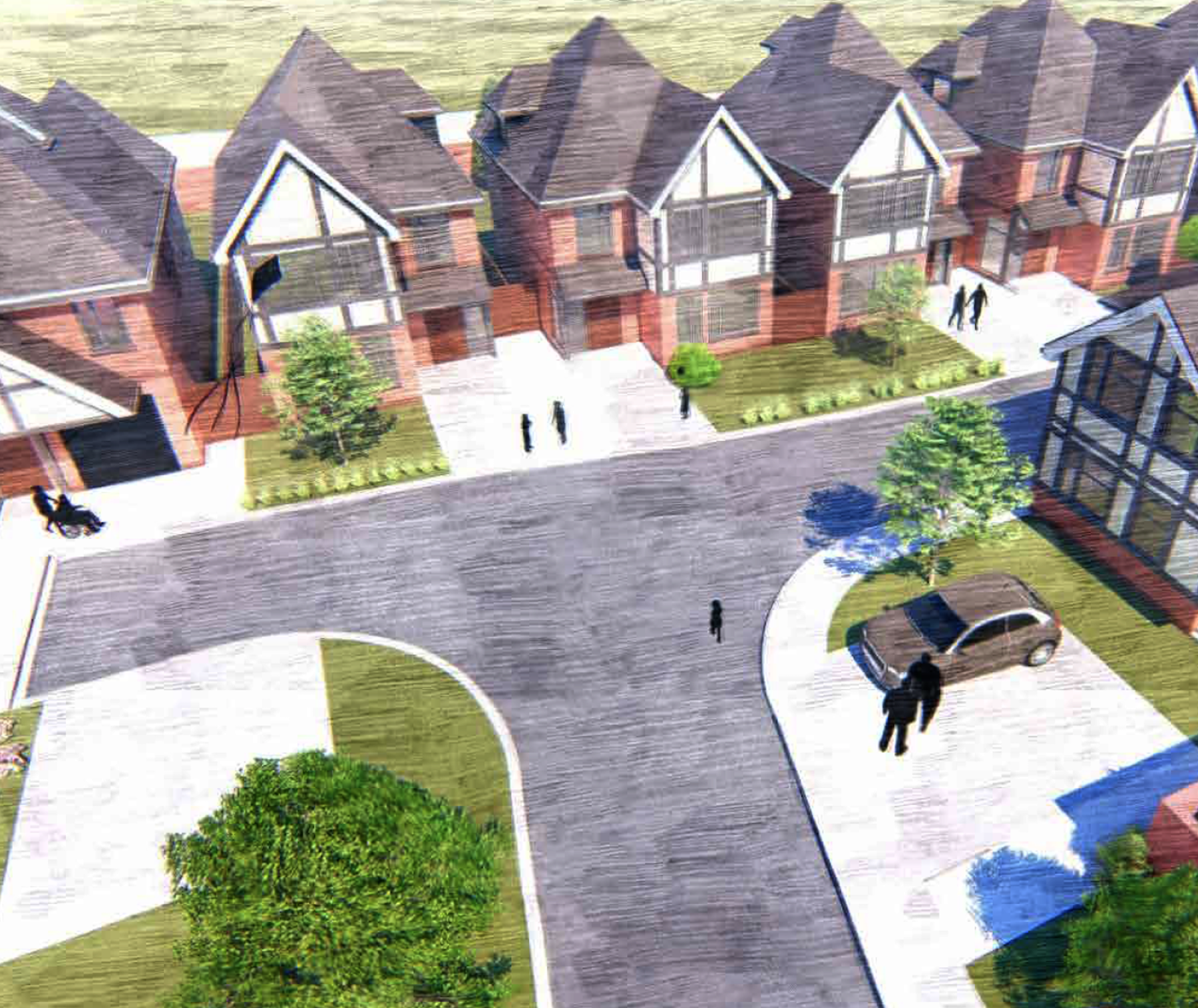 6 family homes, Ruden Way, Epsom Downs